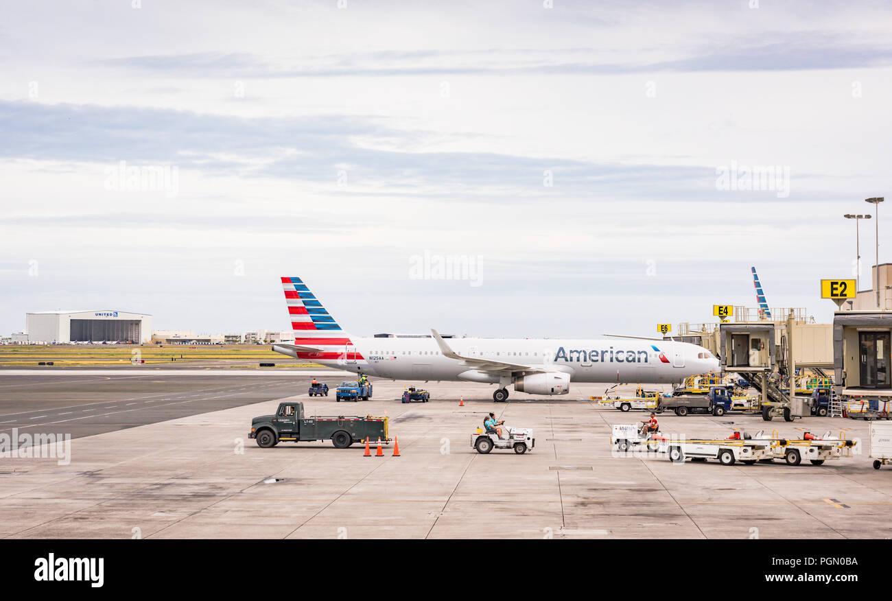 Honolulu, Hawaii / USA - August 26, 2018: Daniel K. Inouye International Airport, also known as Honolulu International Airport, is the principal aviat - Stock Image