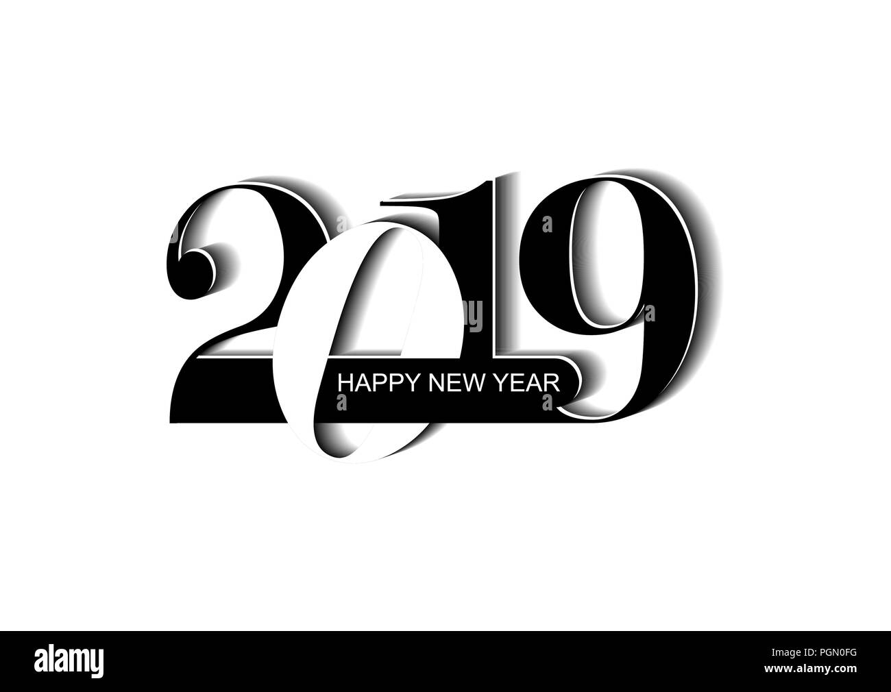new years greetings with the new year 2019 and the letter happy new year white background