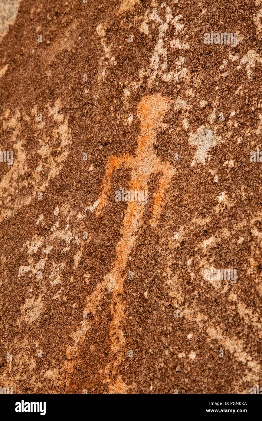 Petroglyph of Man/Person in Prescott, Arizona - Stock Image