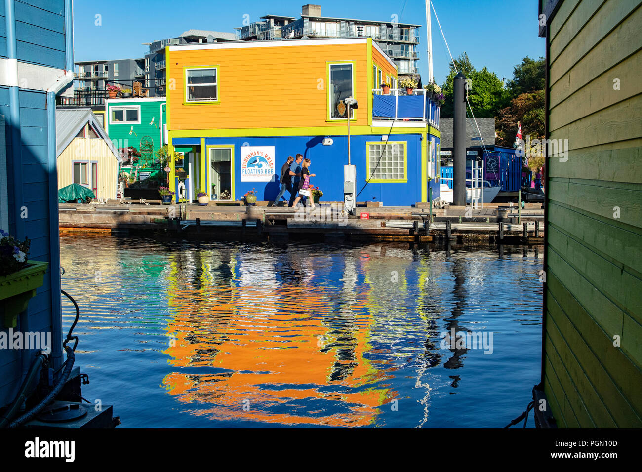 Colorful Float Homes at Fisherman's Wharf - Victoria, Vancouver Island, British Columbia, Canada - Stock Image