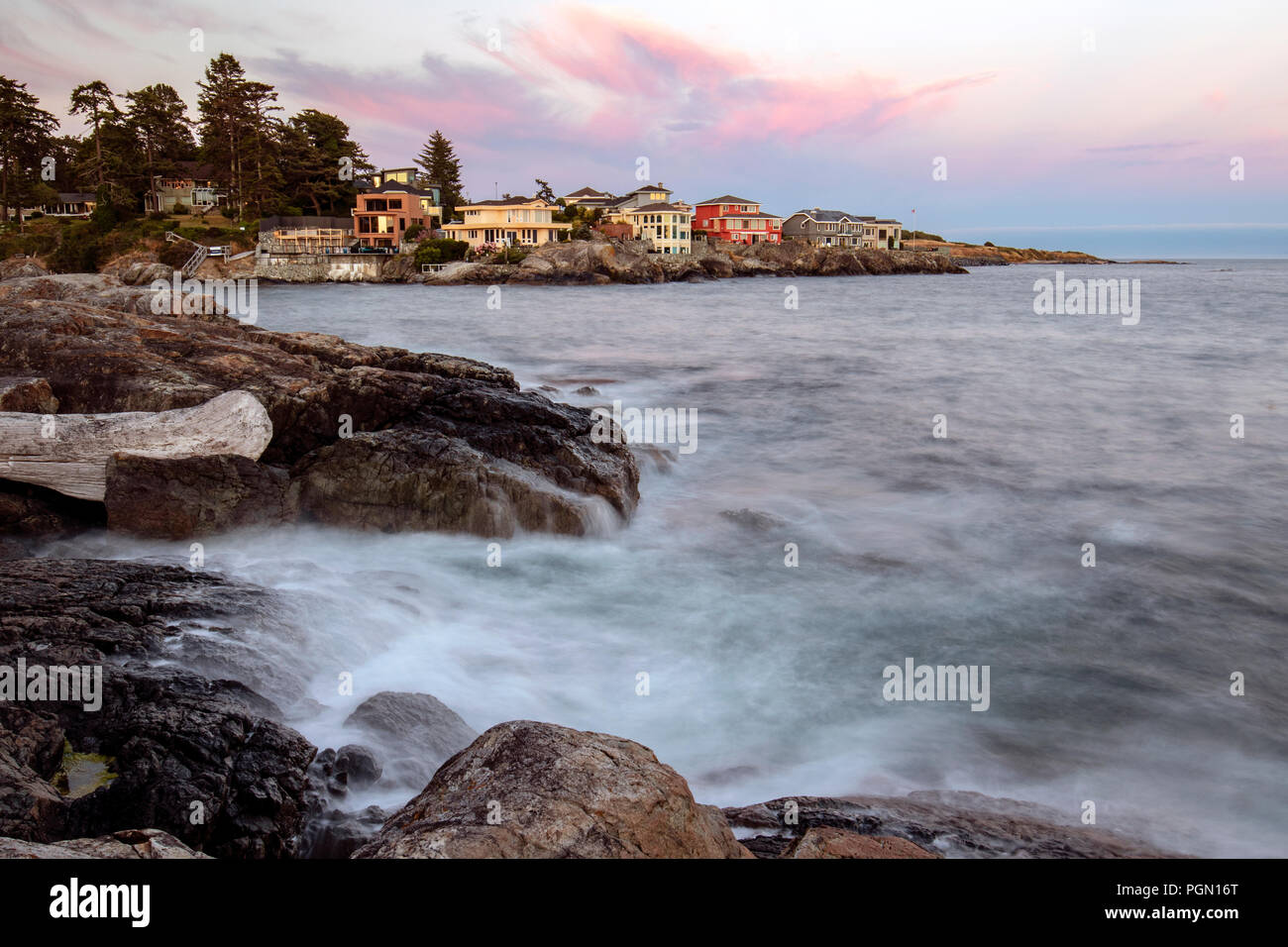 View from Saxe Point Park - Esquimalt, near Victoria, Vancouver Island, British Columbia, Canada - Stock Image