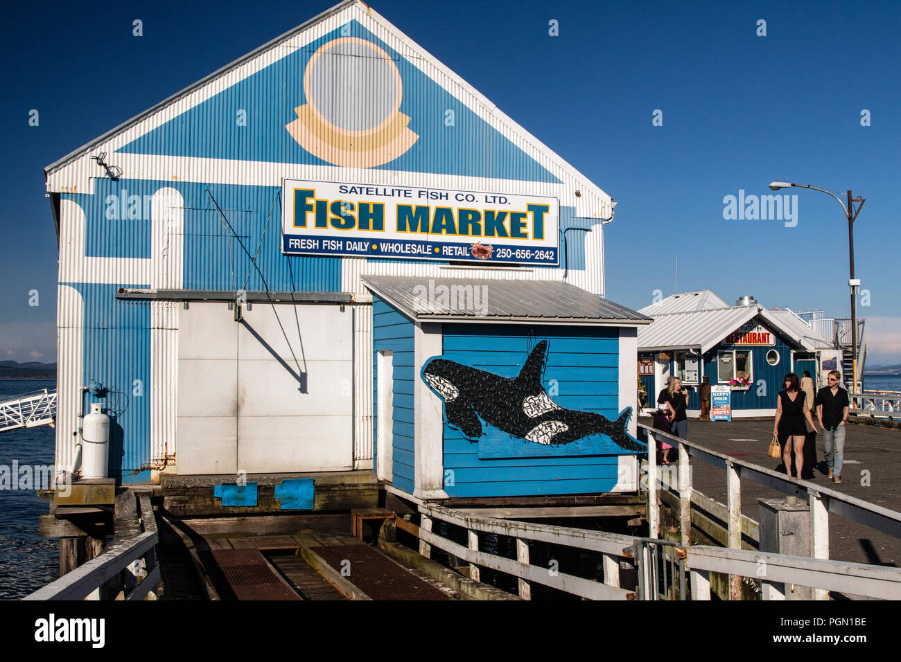 Satellite Fish Co, Ltd. Fish Market - Sidney, Vancouver Island, British Columbia, Canada - Stock Image