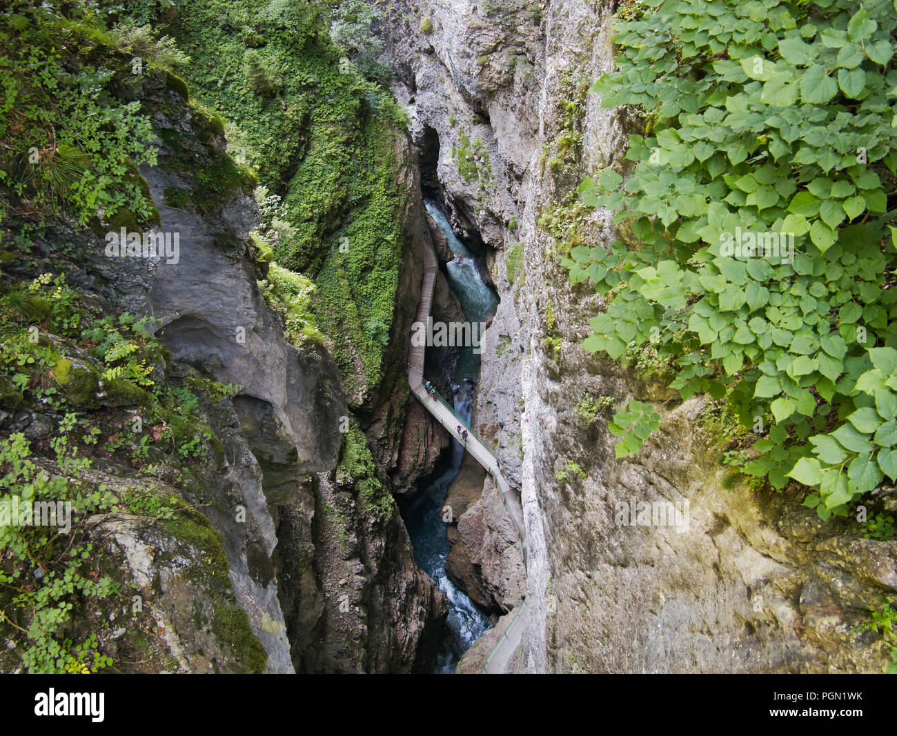 View of the gorge and the path through the gorge seen from above - Stock Image