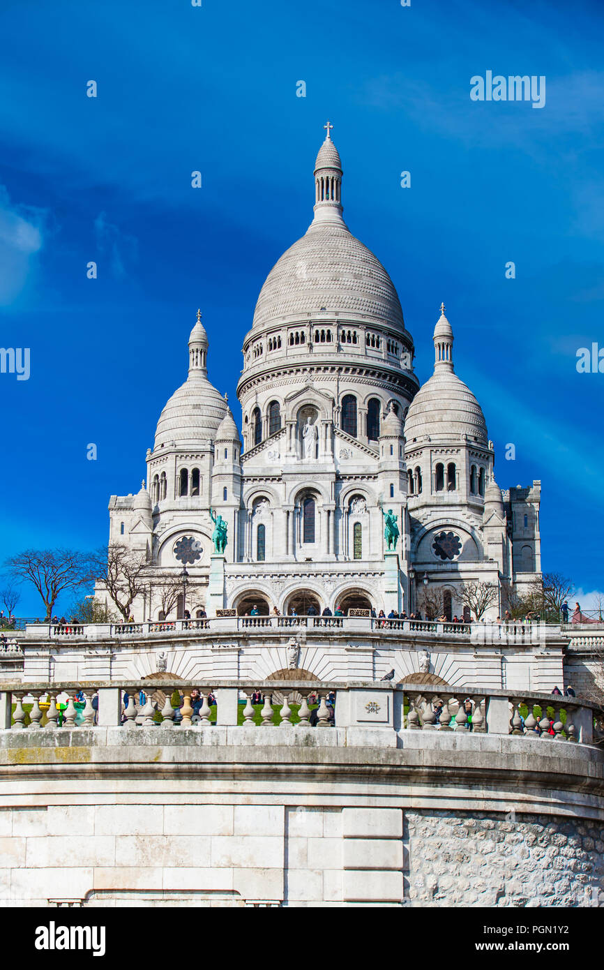 The Sacre Coeur Basilica at the Montmartre hill  in Paris France - Stock Image
