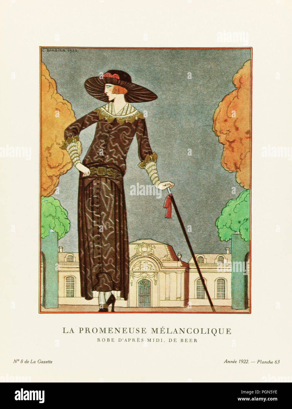 La Promeneuse Mélancolique.  The Melancholy Walker.  Robe d'après-midi, de Beer.  Afternoon dress by Beer.  Art-deco fashion illustration by French artist George Barbier, 1882-1932.  The work was created for the Gazette du Bon Ton, a Parisian fashion magazine published between 1912-1915 and 1919-1925. - Stock Image