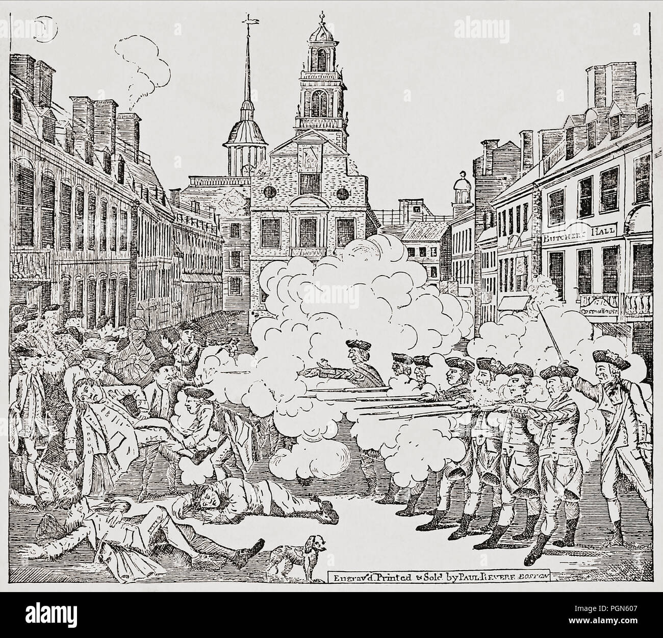 The Boston Massacre, also known as the Incident on King Street, March 5, 1770, when British soldiers shot several civilians. The incident was one catalyst which helped turn colonial opinion against the British crown and precipitated eventual armed confrontation against British rule during the American Revolution.  After a contemporary engraving by Paul Revere. - Stock Image
