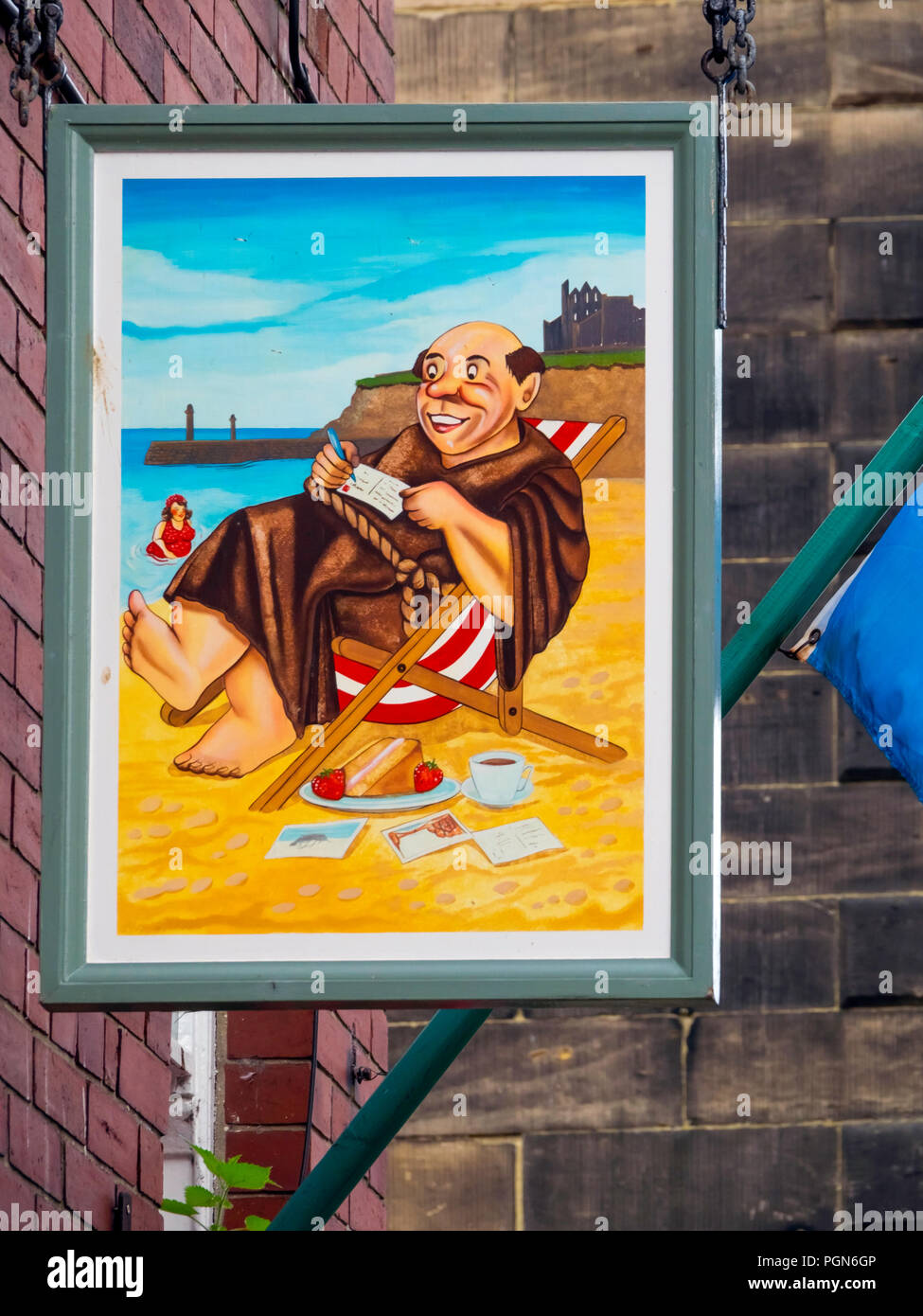 Cafe sign of The Monks Haven Church Street Whitby North Yorkshire England Stock Photo