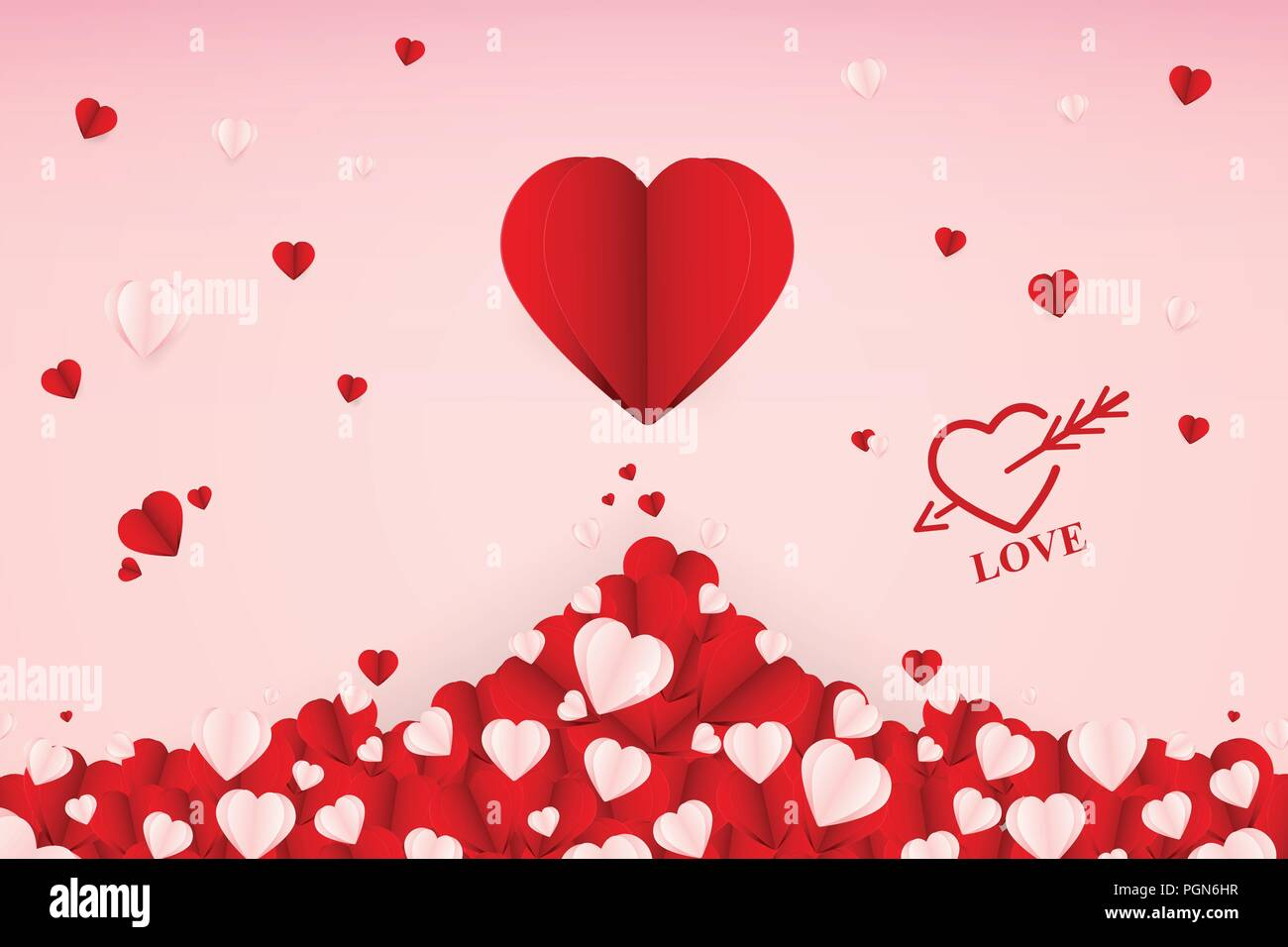 Abstract Paper art Love Heart vector Background illustration - Stock Image