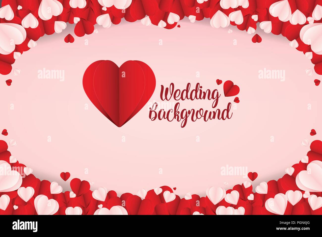 Beautiful Abstract Paper Art Heart Wedding Background Vector - Stock Image