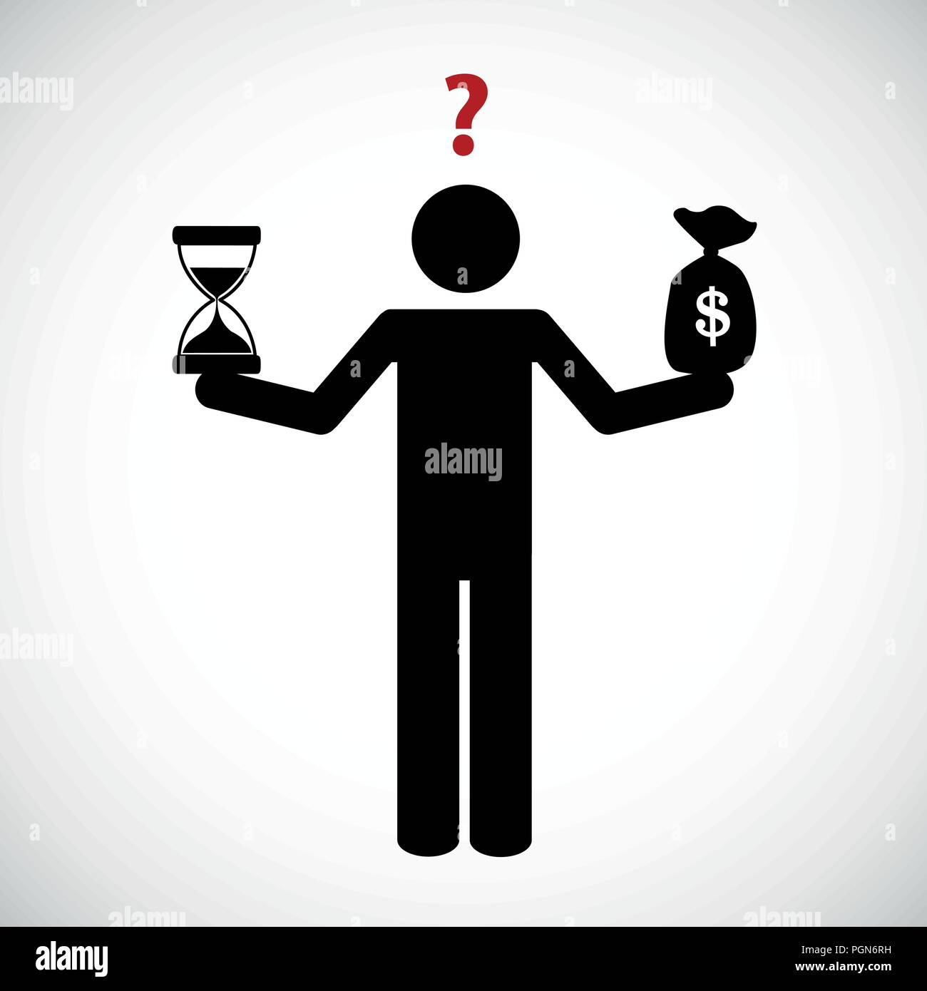 time and money balance pictogram vector illustration EPS10 - Stock Image