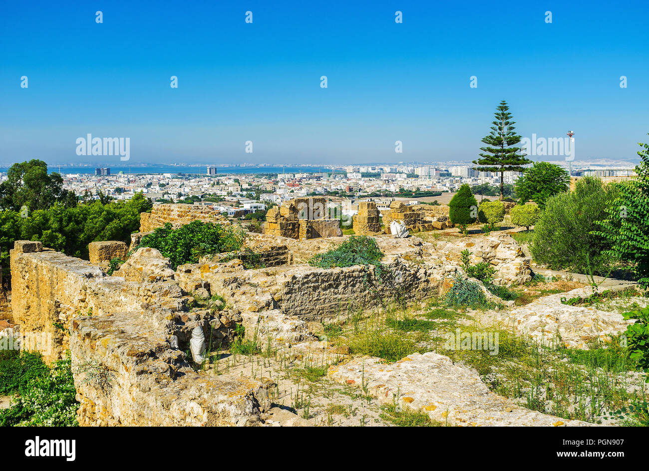 The Byrsa Hill, famous for ruins of ancient Carthage, boasts perfect viewpoints, overlooking the greenery, architecture and the coastline on backgroun - Stock Image