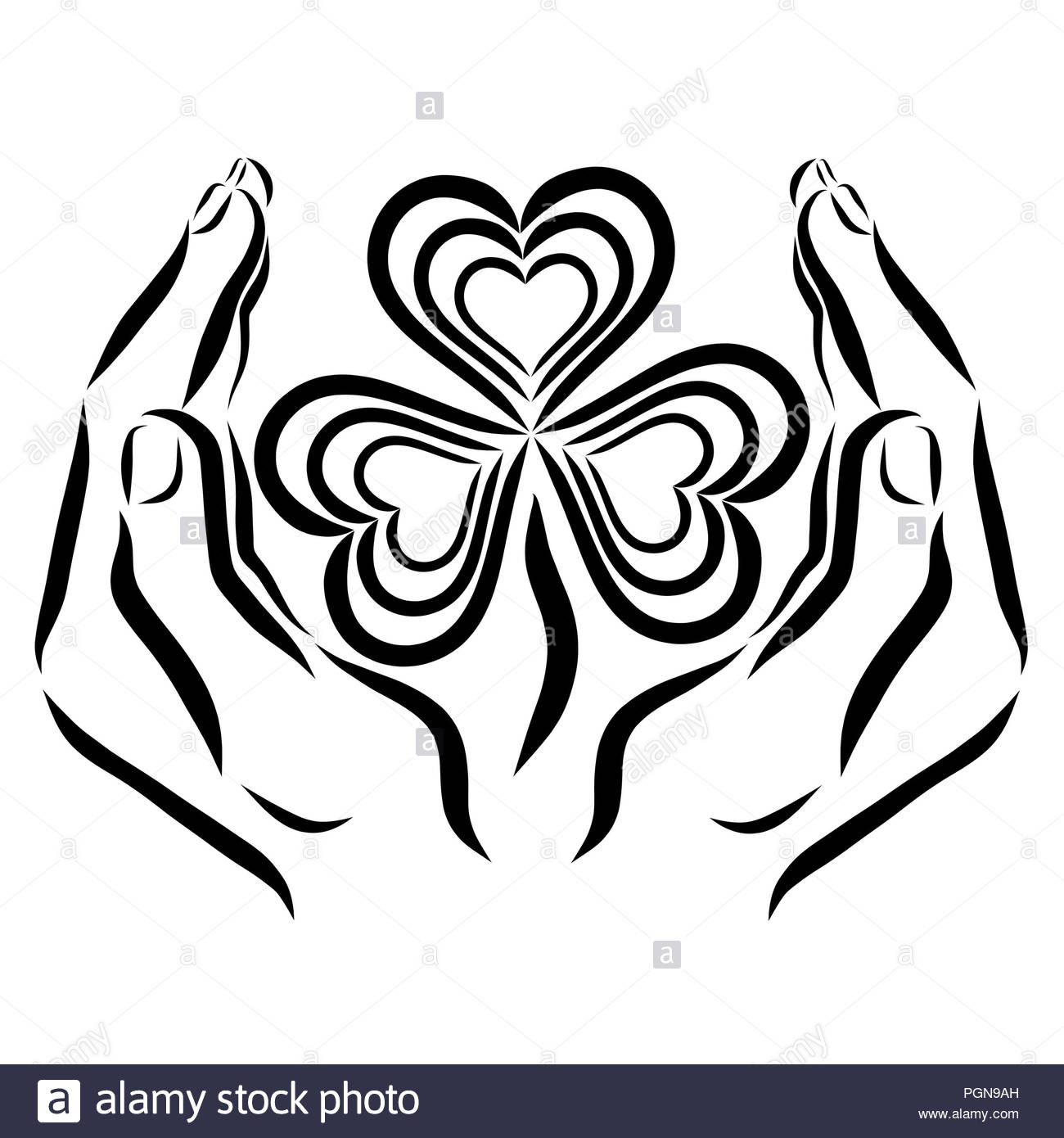 Clover with three leaves and hearts in the hands of man - Stock Image