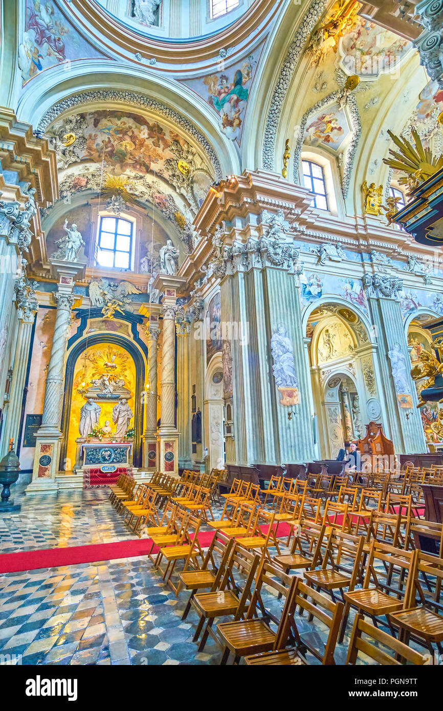 KRAKOW, POLAND - JUNE 11, 2018: The St Anna Church is one of the most revered churches in Poland, with the most beautiful interior in baroque style, o - Stock Image