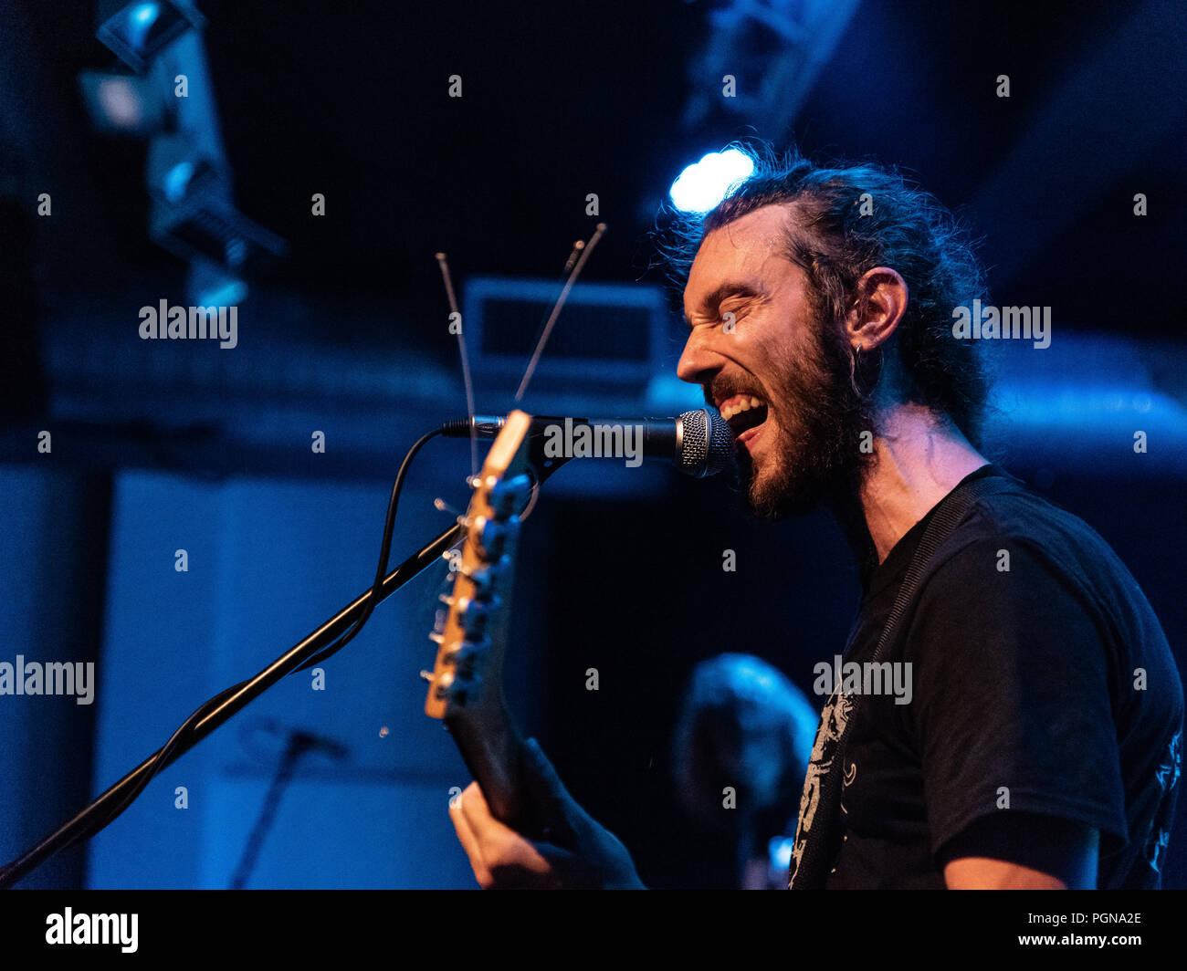 Bergamo, Italy - August 26, 2018: Italian Grunge-St0ner band Adrenalin Dose performs at Pollo Metal Fest at Spazio Polaresco (BG). Brambilla Simone Li - Stock Image