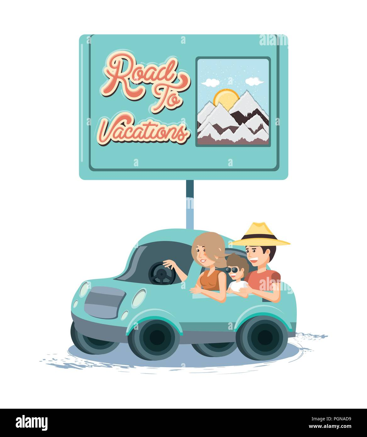 family in car travel vacations vector illustration design - Stock Image