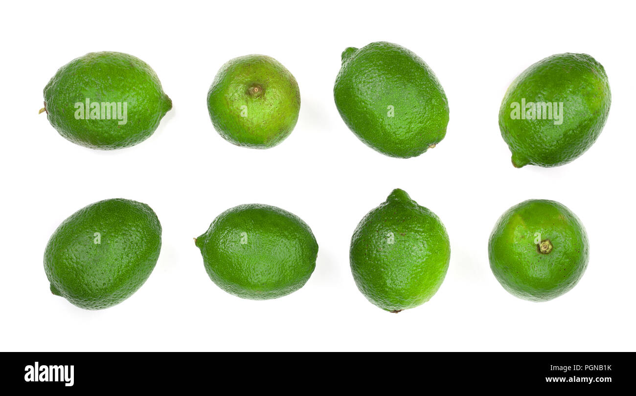 sliced lime isolated on white background. Top view. Set or collection - Stock Image