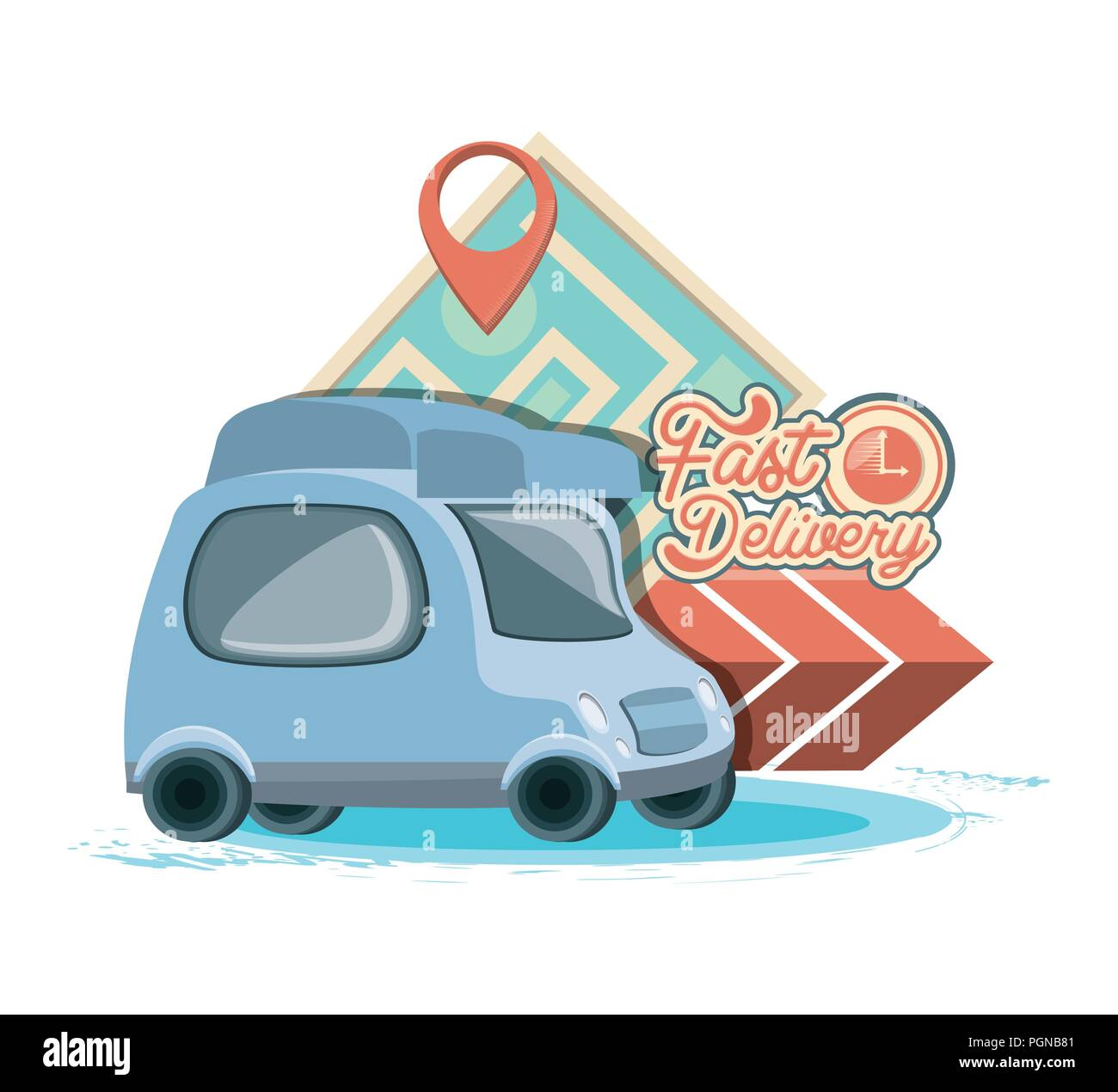 fast delivery service with van vector illustration design - Stock Image
