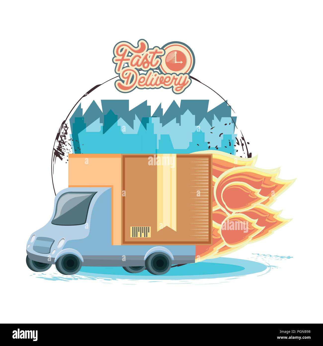 fast delivery service with truck vector illustration design - Stock Image