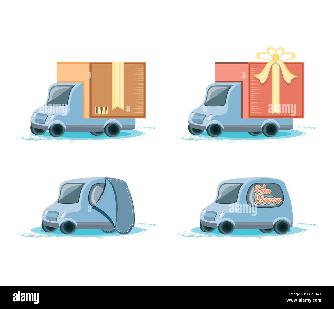 fast delivery service with trucks vector illustration design - Stock Image