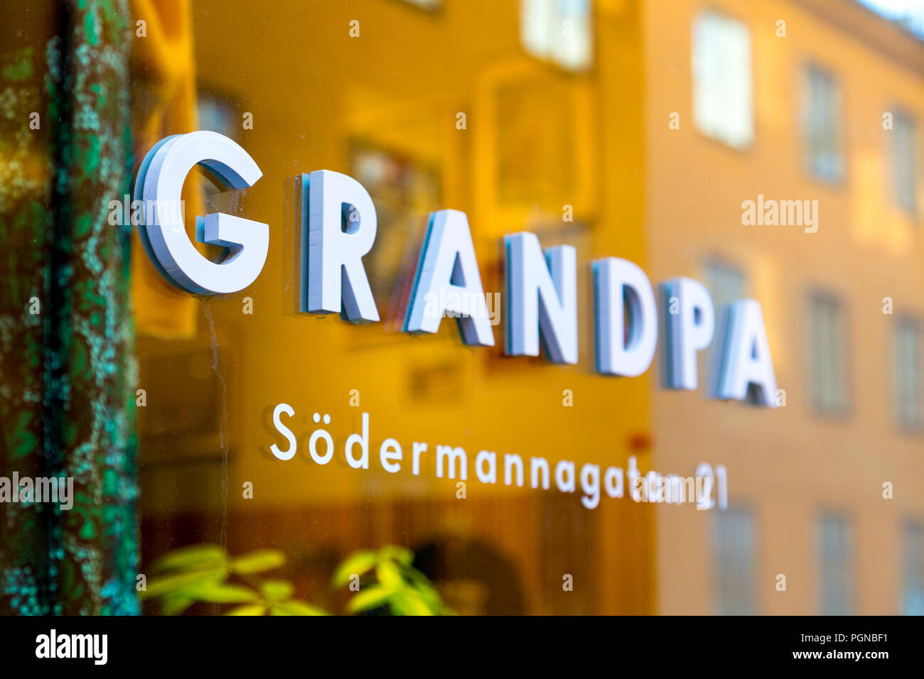 The front window of Scandinavian lifestyle shop Grandpa in Sofo, Sodermalm, Stockholm, Sweden - Stock Image