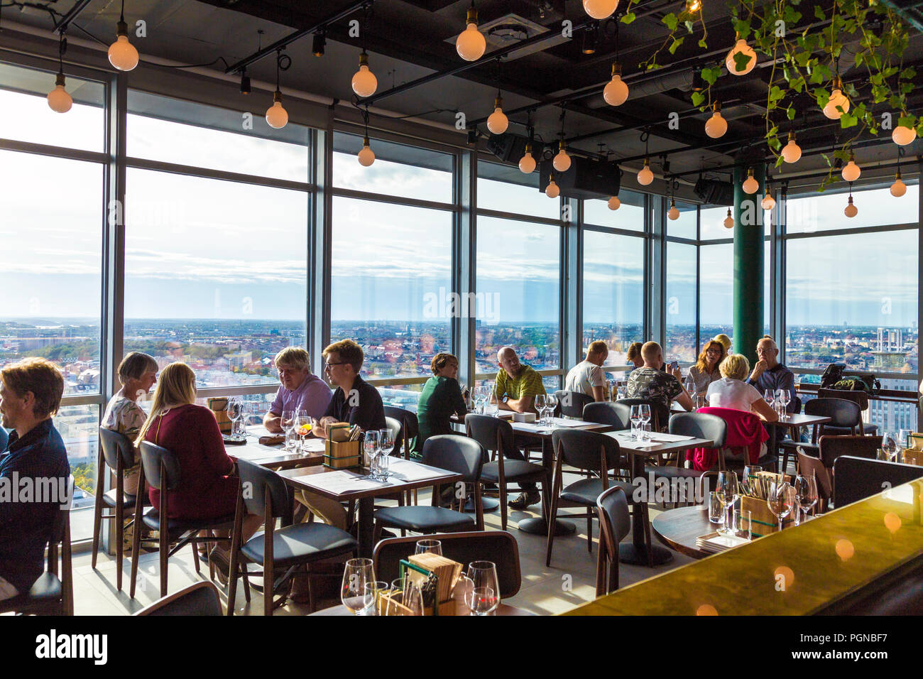 Interior Of Restaurant And Bar Himlen With Stockholm Skyline In The Background Sweden Stock Photo Alamy