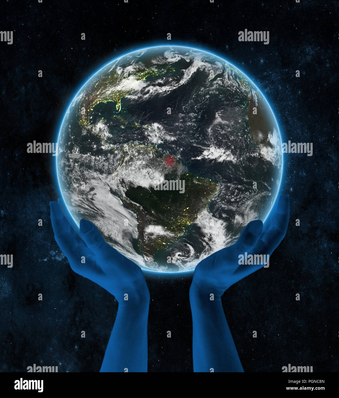 Suriname on Earth at night in hands in space. 3D illustration. - Stock Image