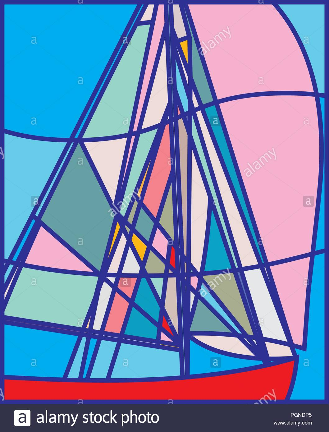 Abstract Sailboat with Pink Spinnaker, Linear, Stained Glass, Sailing, Poster Design, Summer Fun, Nautical, Sports and Recreation, Golden Globe Race - Stock Image