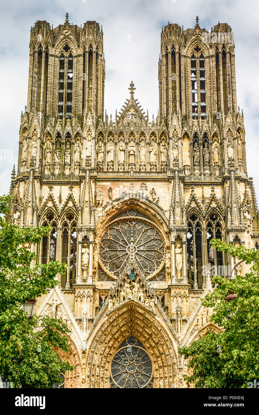 Architectural detail outside the medieval Cathedral in Reims