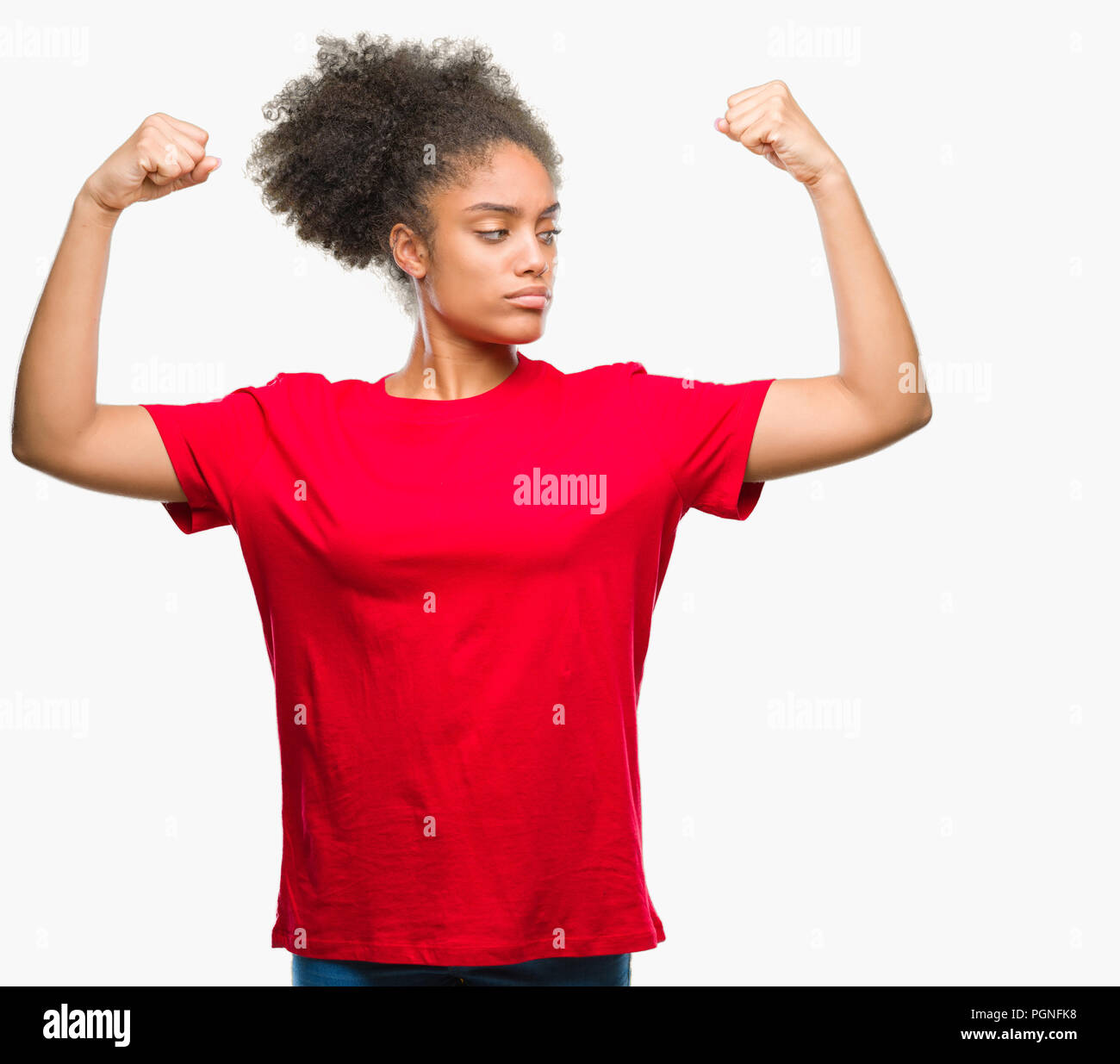 Young Afro American Woman Over Isolated Background Showing Arms