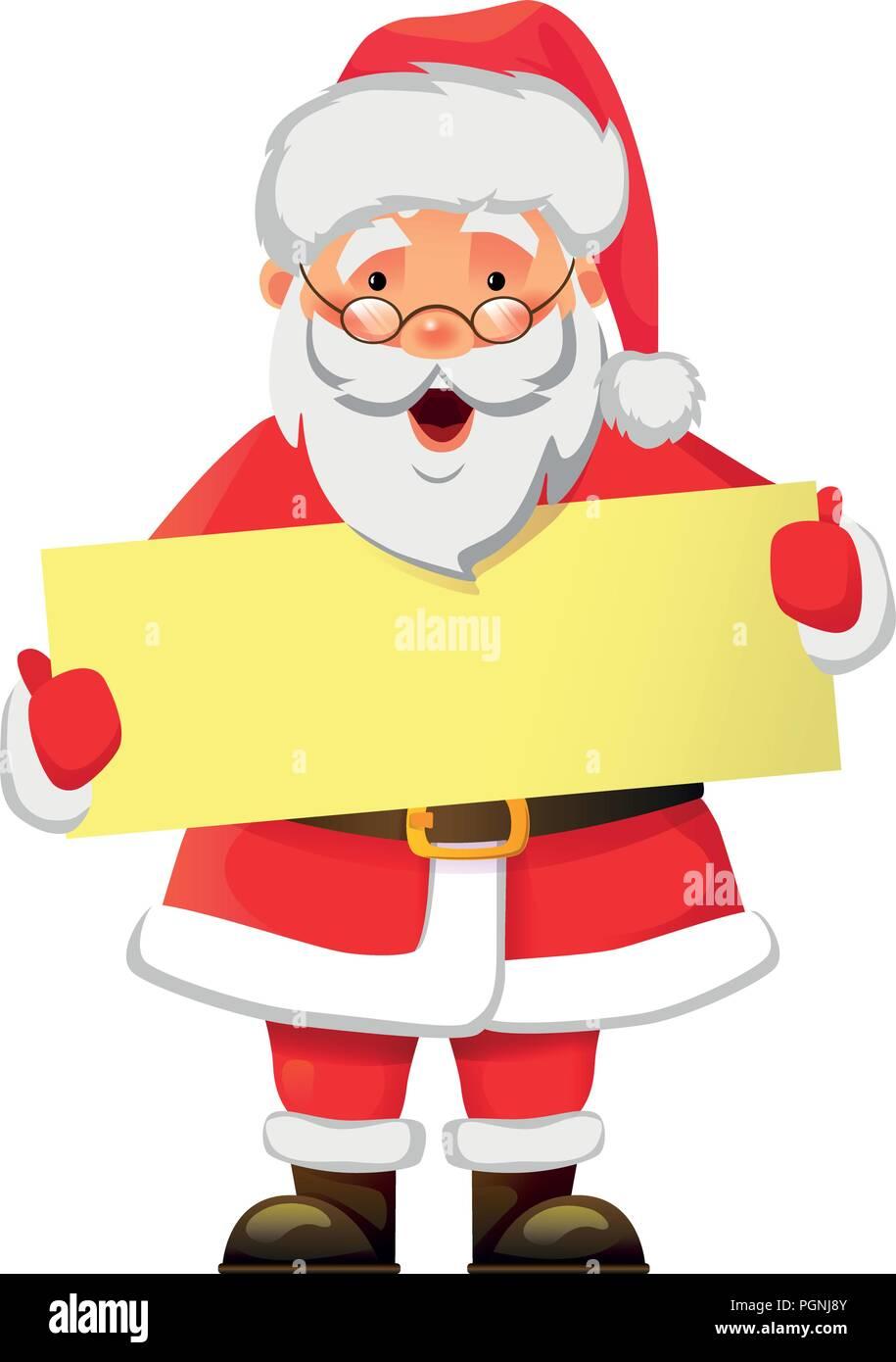 Santa Claus holding banner. Santa Claus with message board vector illustration. Christmas Greeting Card - Stock Vector