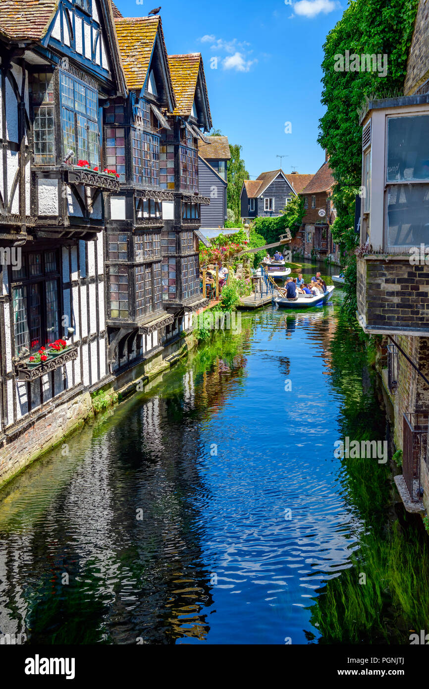 Boaters on the great stour river Canterbury Kent - Stock Image