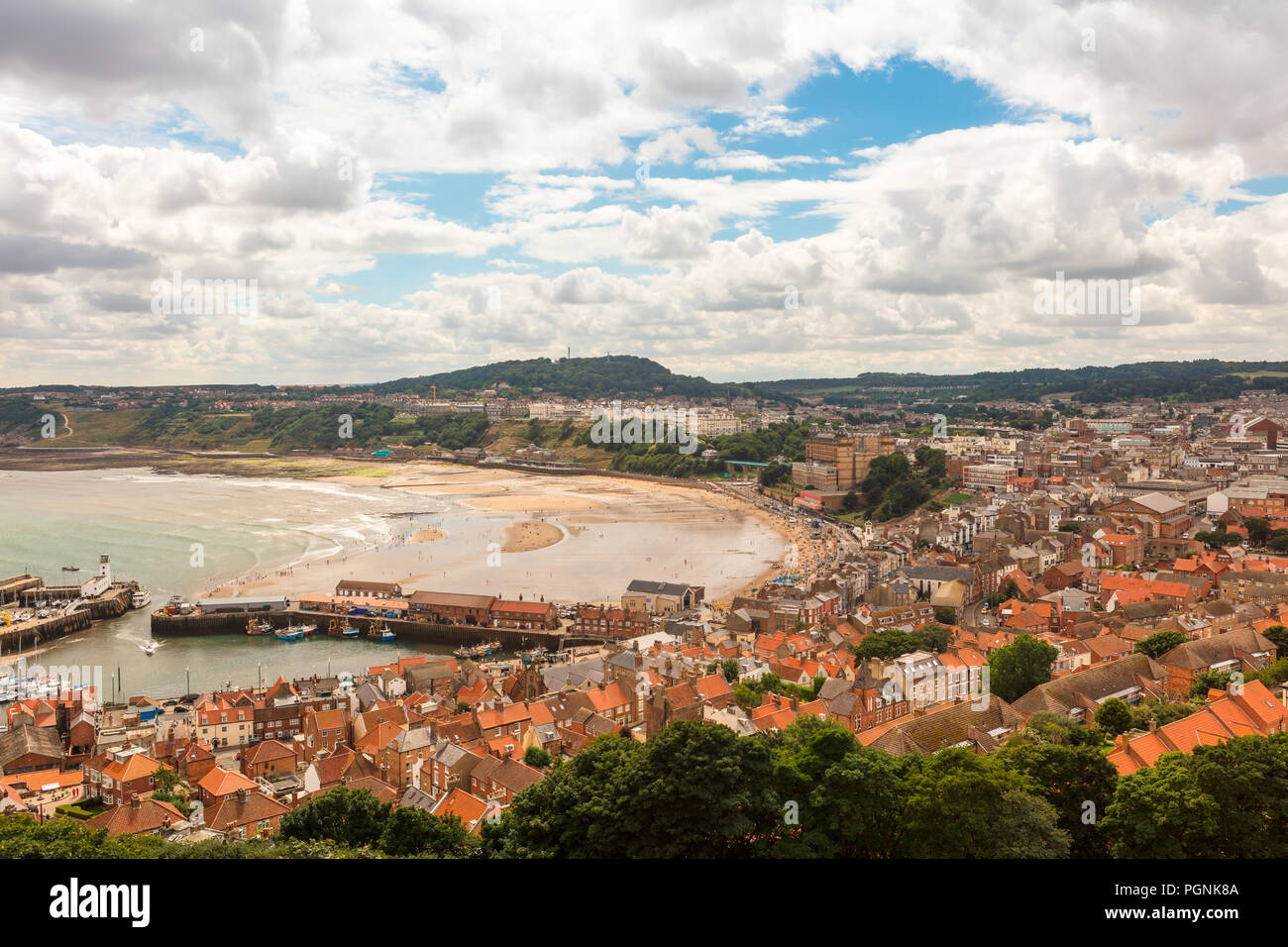 Tide is out at the South Bay in Scarborough, North Yorkshire, scenic view. - Stock Image
