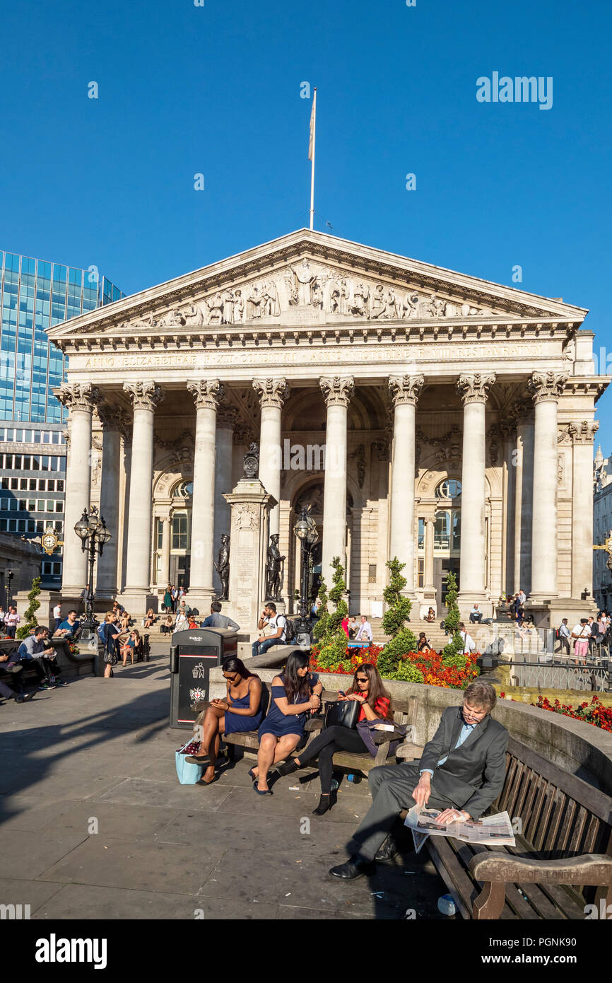 The Royal Exchange in London was founded in the 16th century by the merchant Thomas Gresham - Stock Image