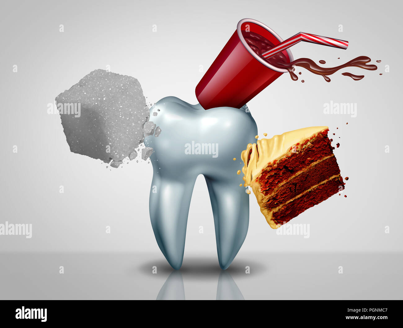 Effects of sugar on teeth as an oral care risk as a dentistry tooth health as sweet food as an acid causing bacteria and molar cavity or cavities. - Stock Image