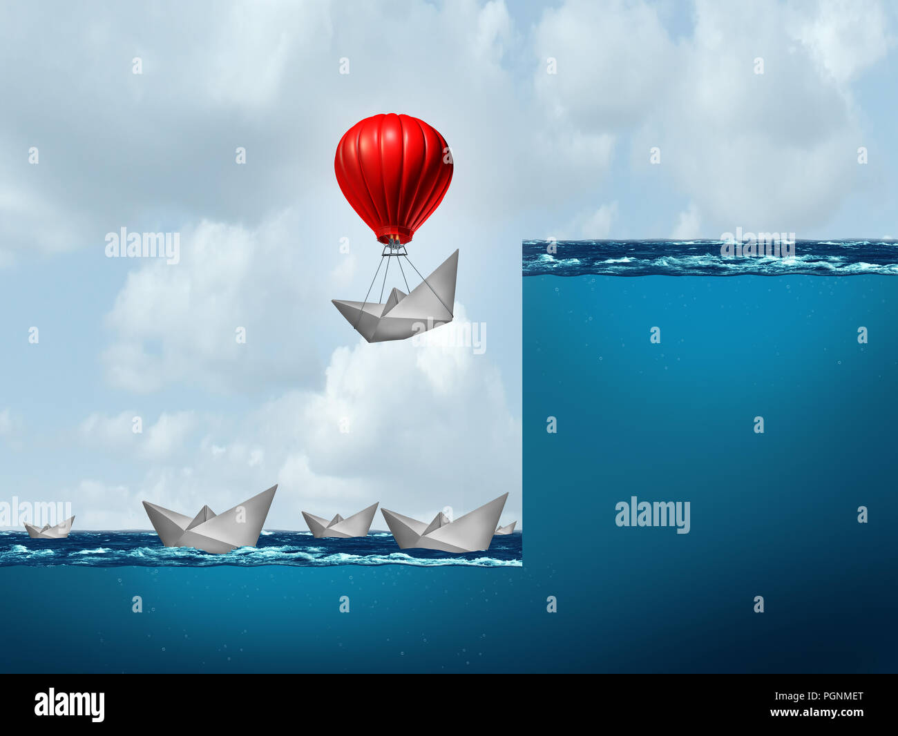 Concept business leadership as a power success strategy conceptual metaphor. - Stock Image