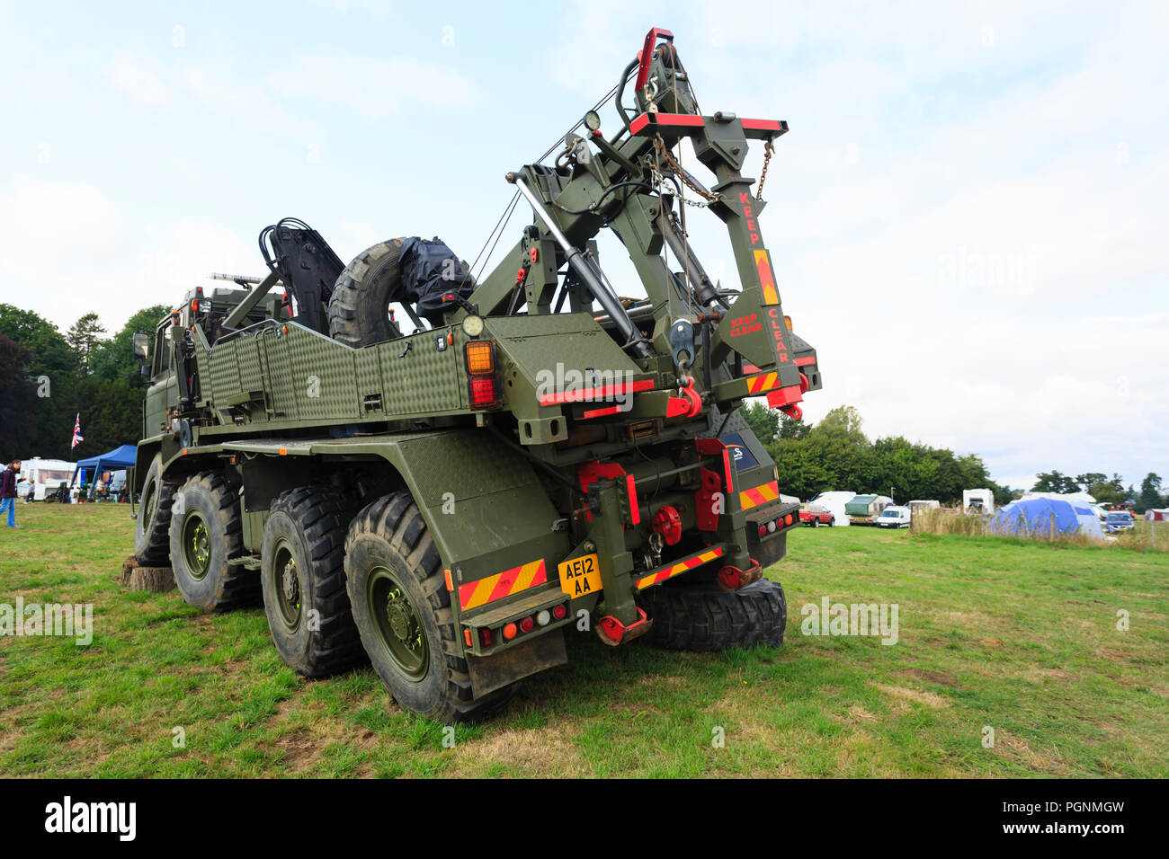 Ex British Army Foden DROP's vehicle with recovery mounted rack. - Stock Image