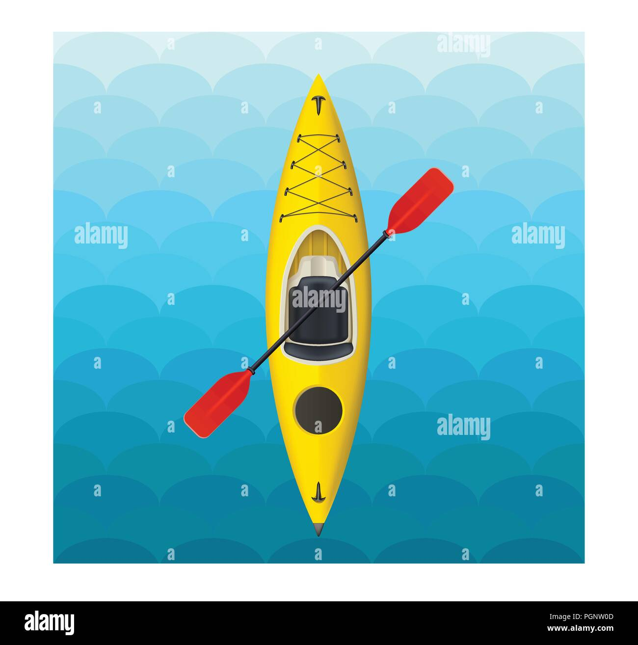 kayak on blue waves - Stock Image