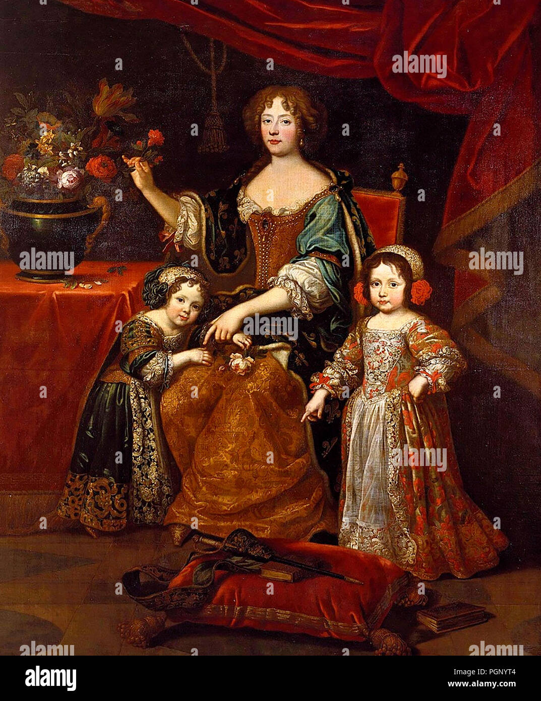 Elisabeth Charlotte of the Palatinate, Duchess of Orleans, and Her Children - Jean Gilbert Murat, circa 1837 - Stock Image
