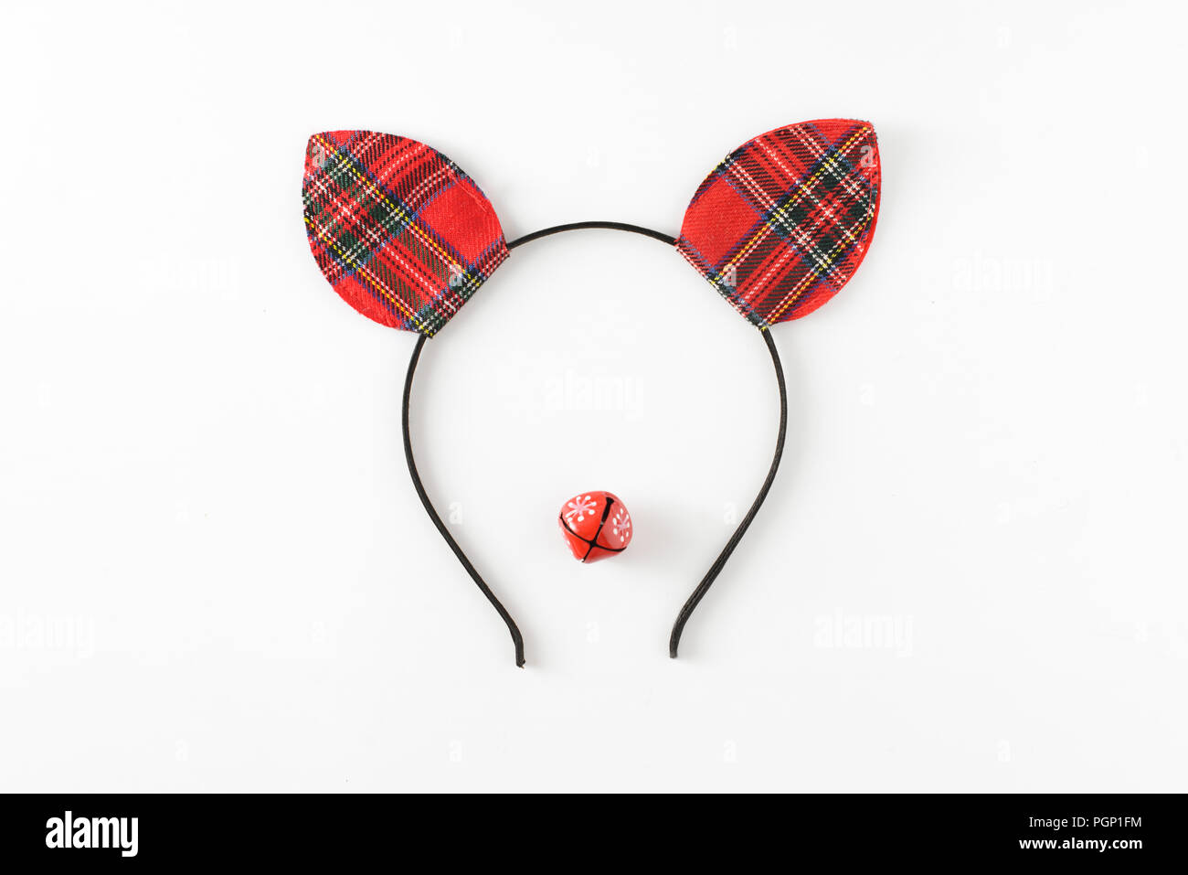 Christmas deer funny face made of red ears hat and little red ...