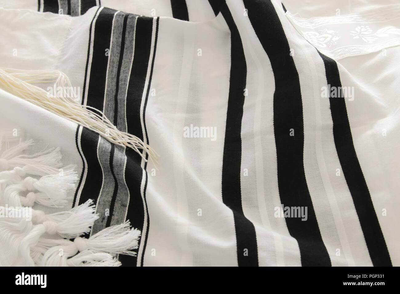White Prayer Shawl Tallit Jewish Religious Symbol Stock Photo
