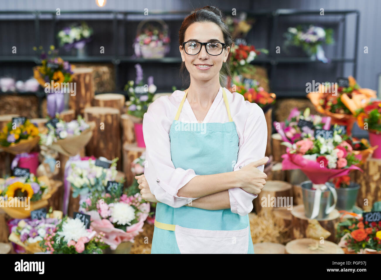 Portrait of female floser shop owner posing confidently and looking at camera Stock Photo