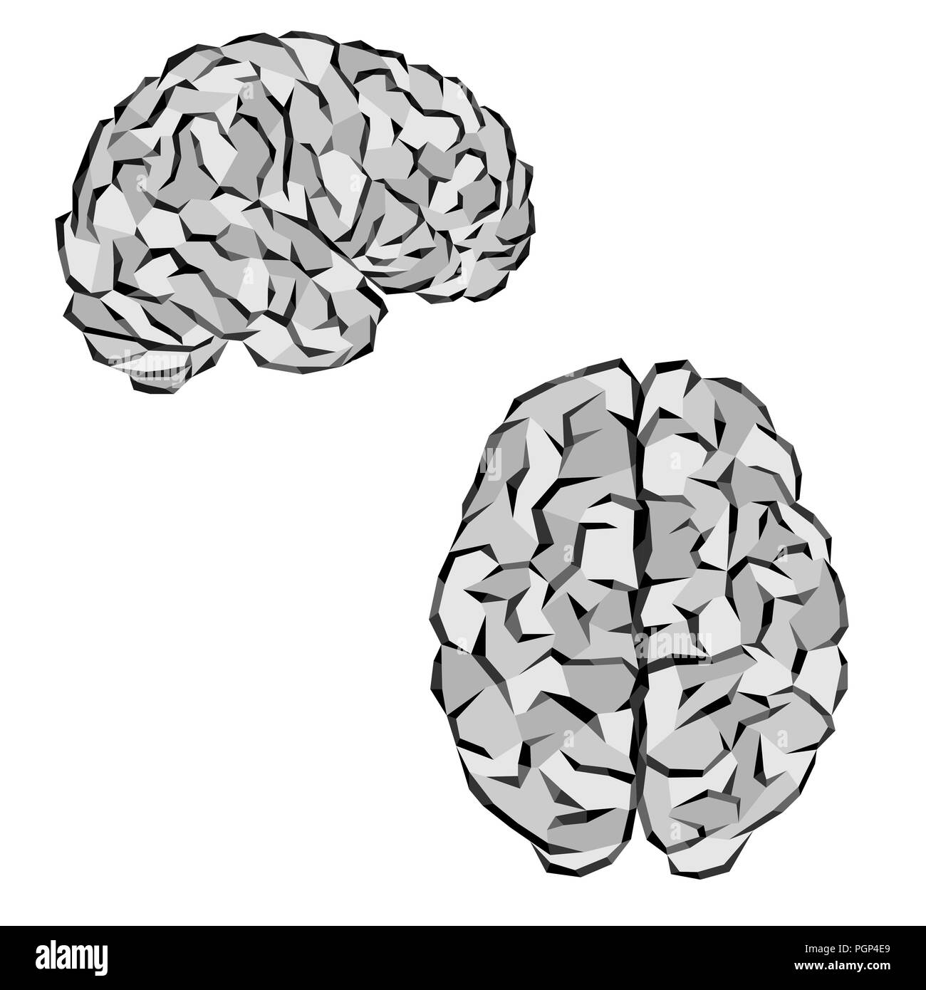 Human brain silhouettes with gray triangles elements - Stock Image