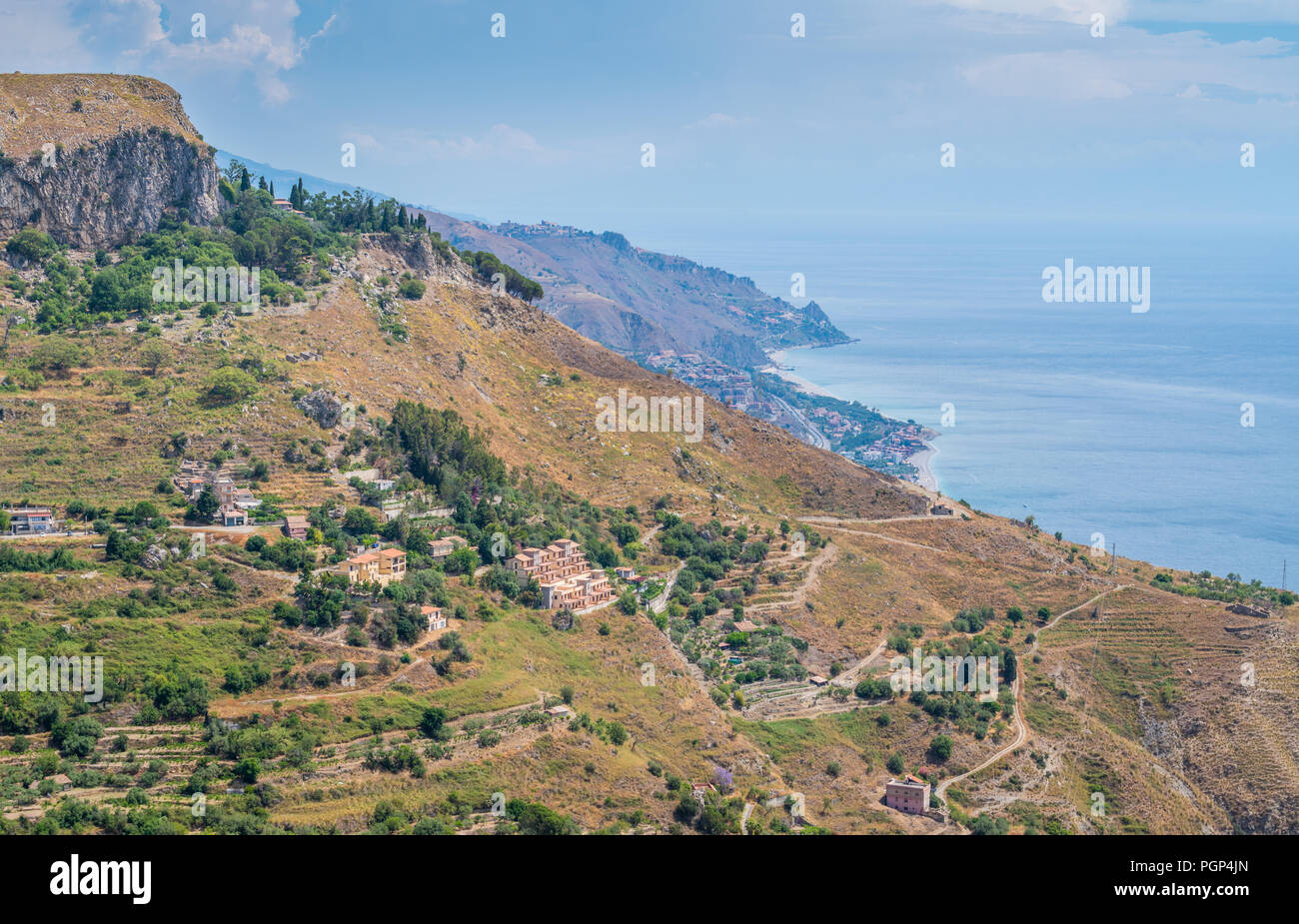 Panoramic view from Castelmola, an ancient medieval village situated above Taormina, on the top of the mountain Mola. Sicily, Italy. Stock Photo