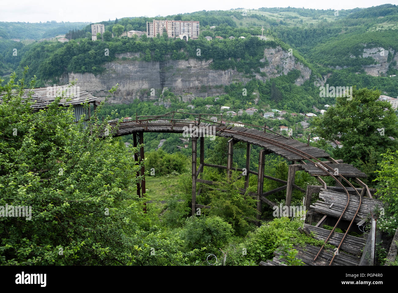 0ld mining railroad tracks in Chiatura Georgia - Stock Image