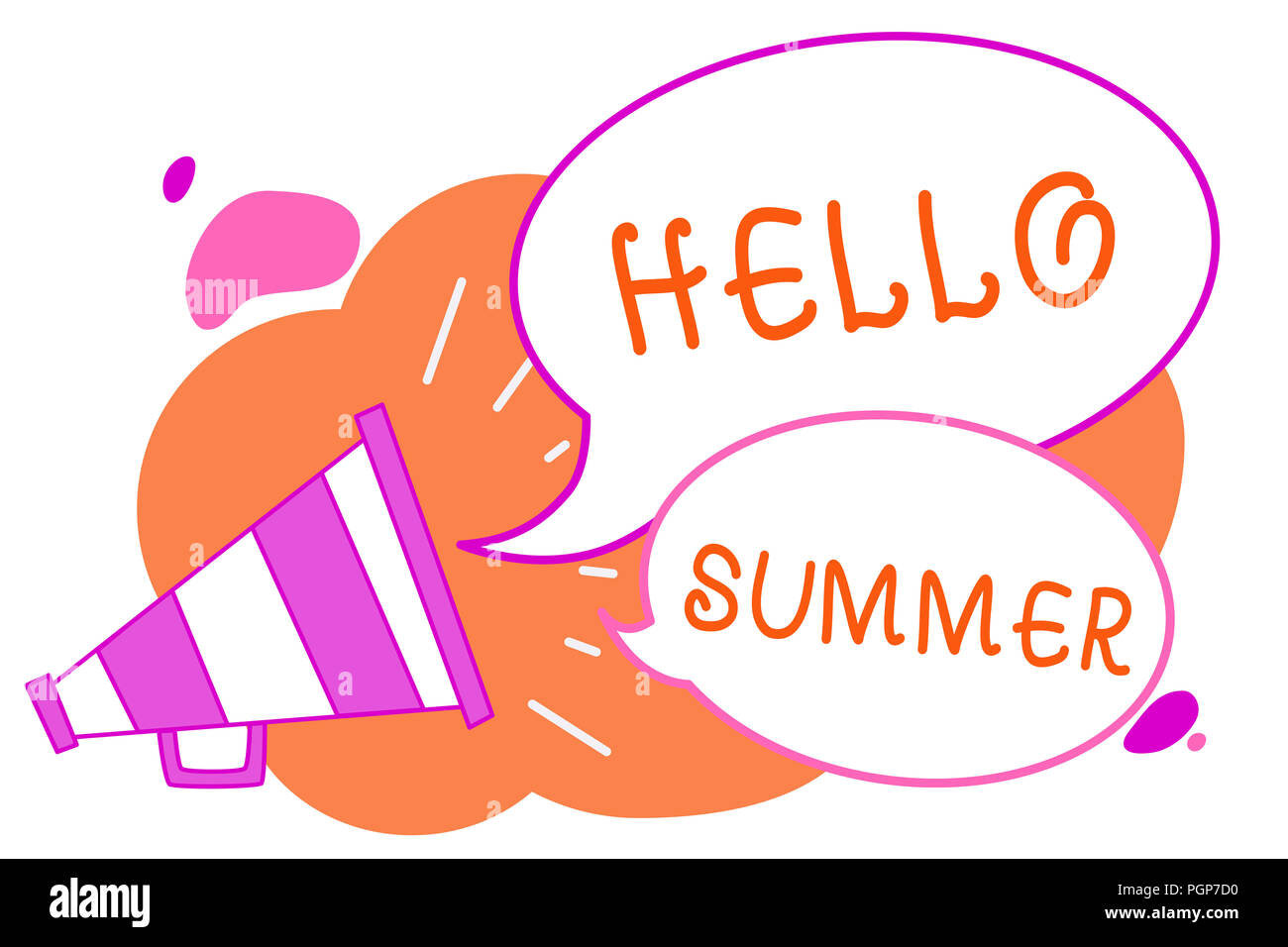 Handwriting text writing Hello Summer. Concept meaning Welcoming the warmest season of the year comes after spring Megaphone loudspeaker speech bubble - Stock Image