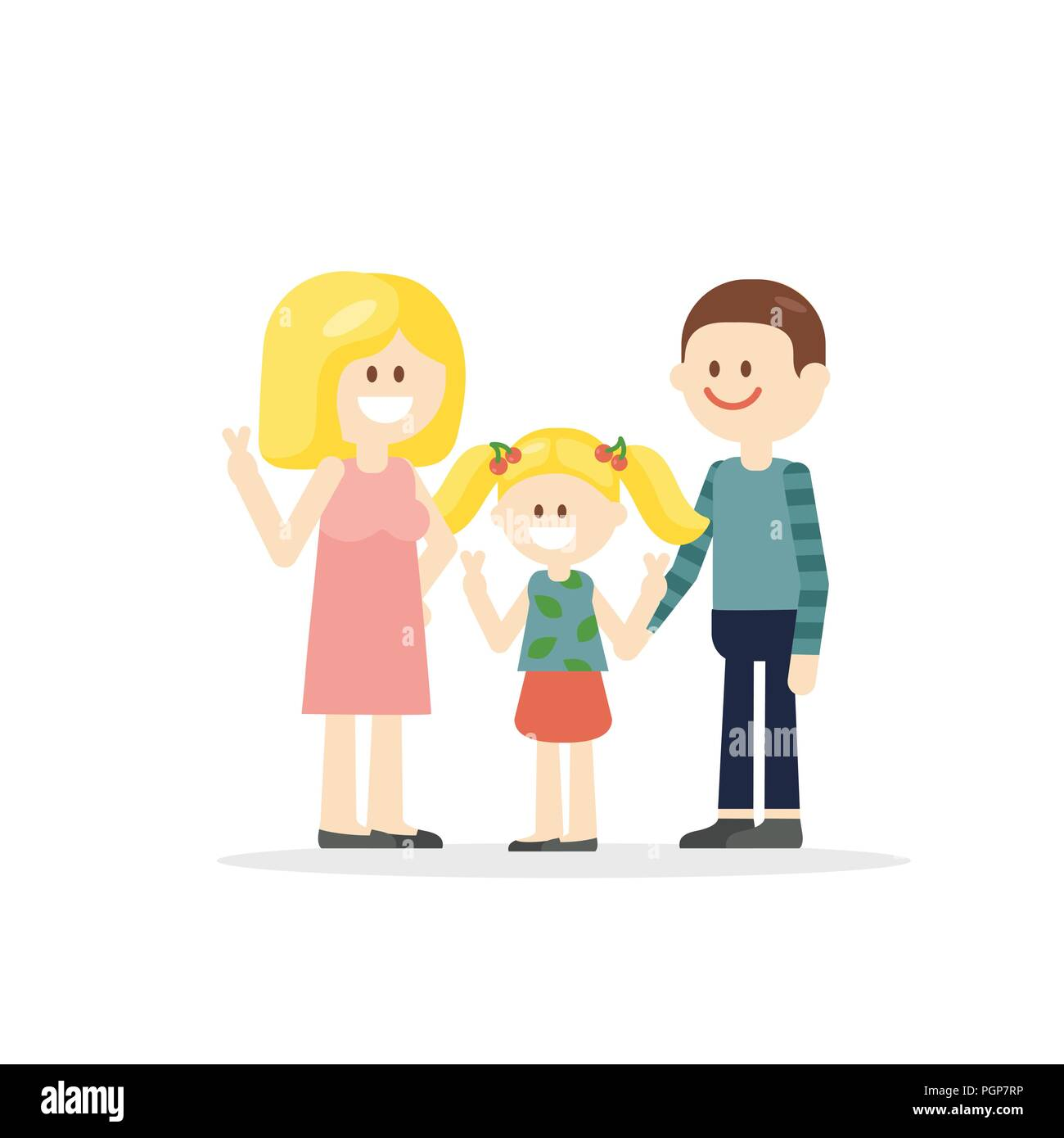 Cartoon parents with little girl - Stock Vector