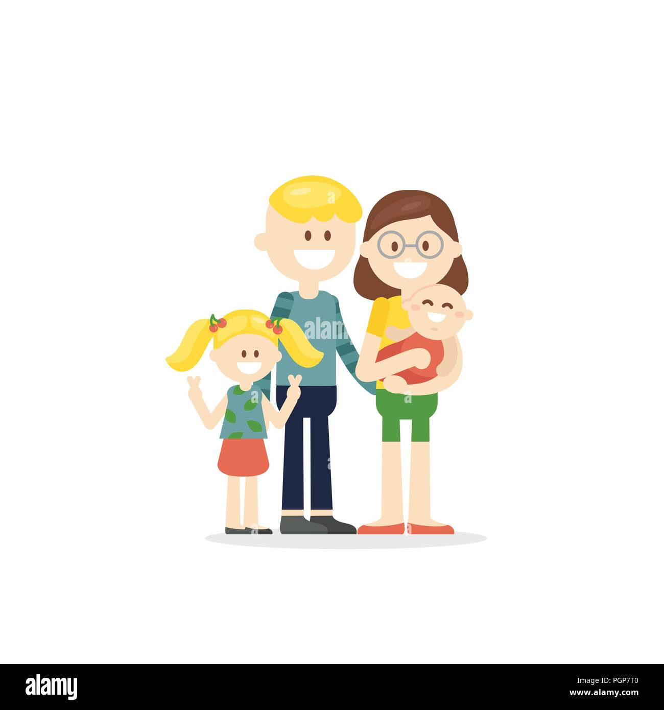 Cheerful cartoon family with kids - Stock Vector