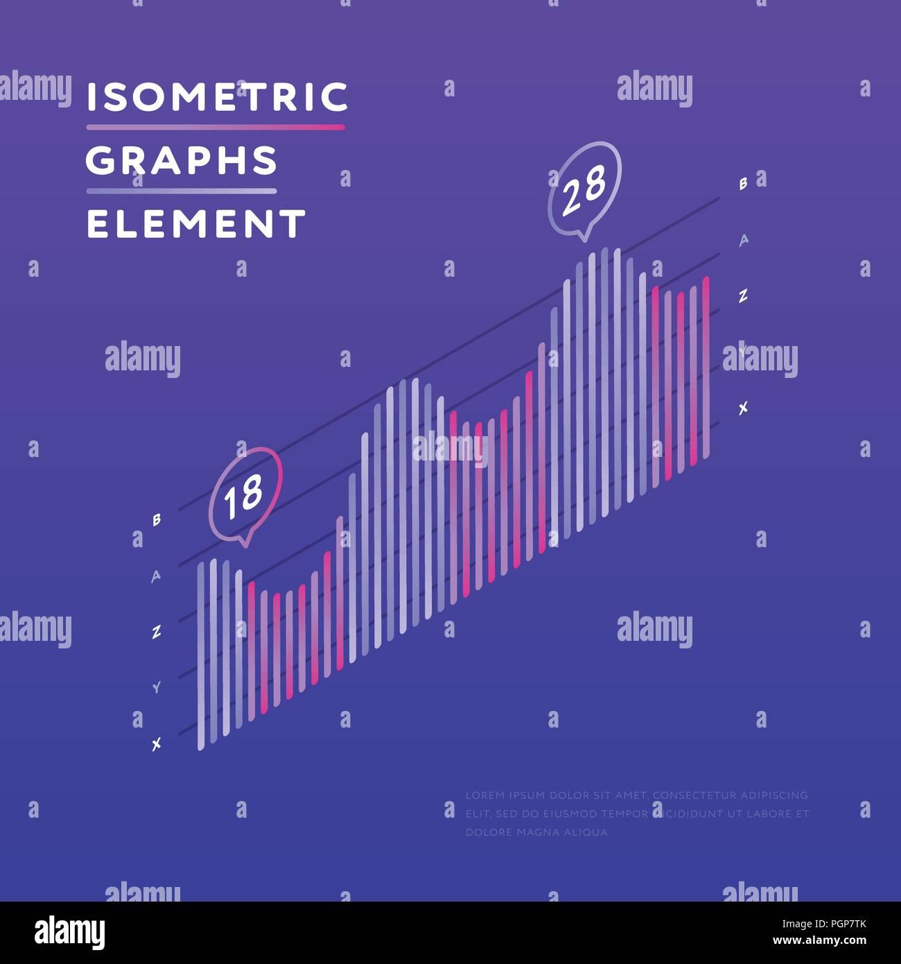 Isometric chart showing statistics - Stock Image