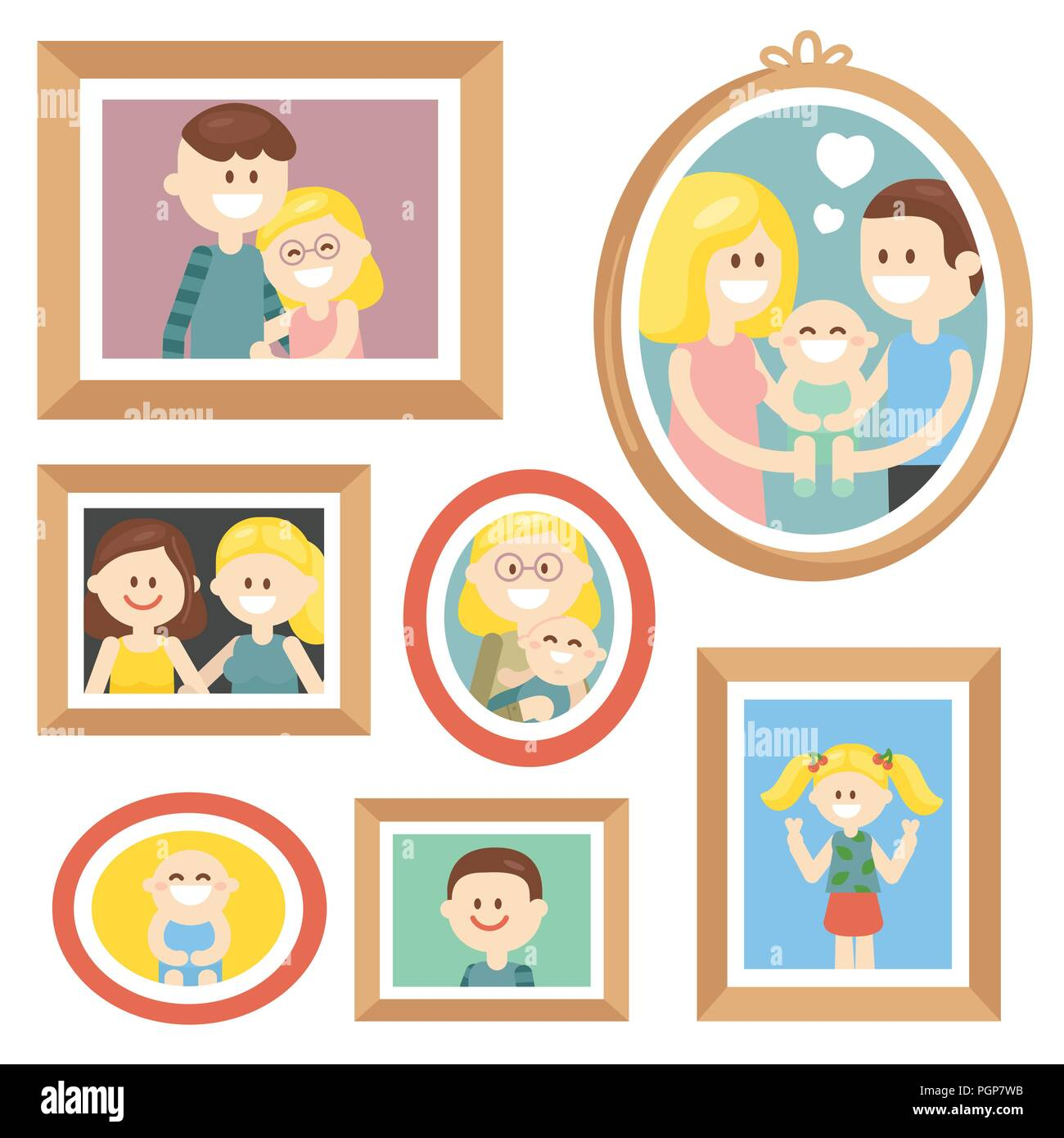 Collection of cartoon family photos in frame - Stock Image