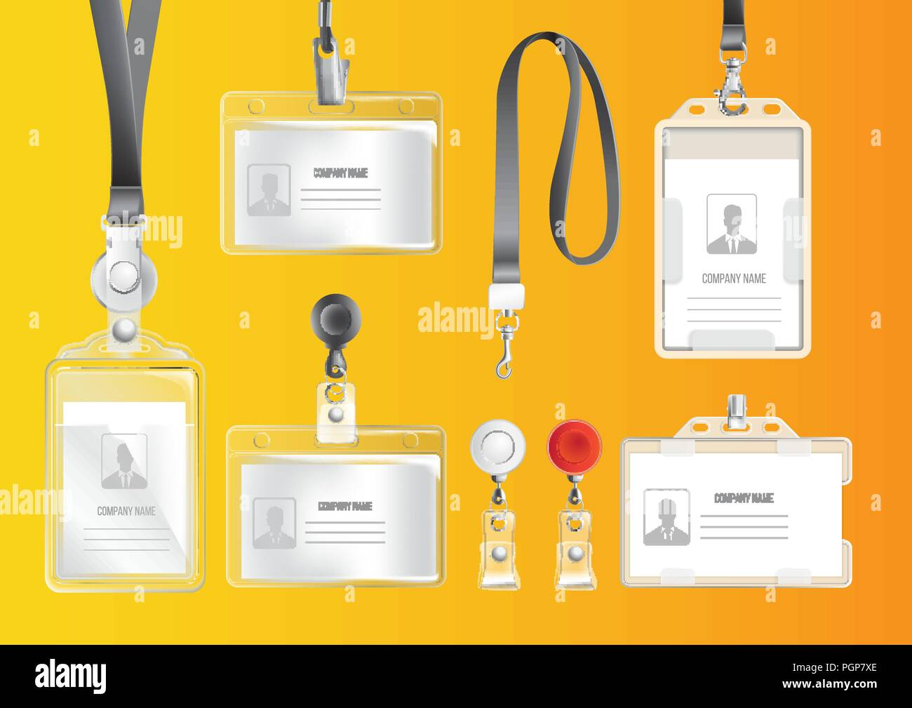 Set of badges and ID cards - Stock Image